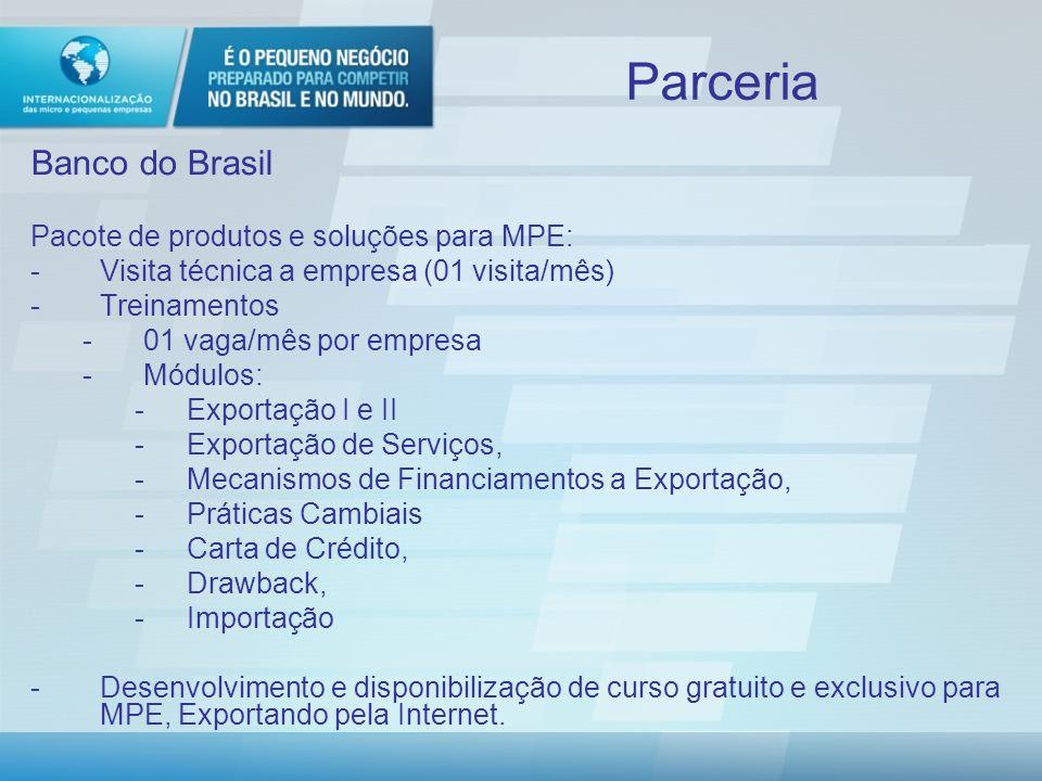 Parceria Banco do Brasil -Convênio de Cooperação Técnica Pacote de produtos e soluções para MPE aderente ao Programa de Internacionalização Valor: R$200,00/mês