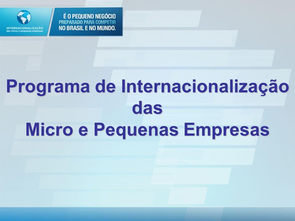 Programa de Internacionalização das Micro e Pequenas Empresas O programa que vai dar lucro no Brasil e no exterior www.internacionalizacao.sebrae.com.br