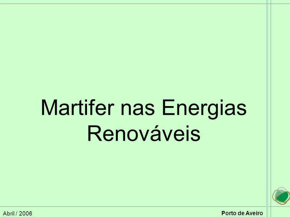 Abril / 2006 Porto de Aveiro Martifer nas Energias Renováveis