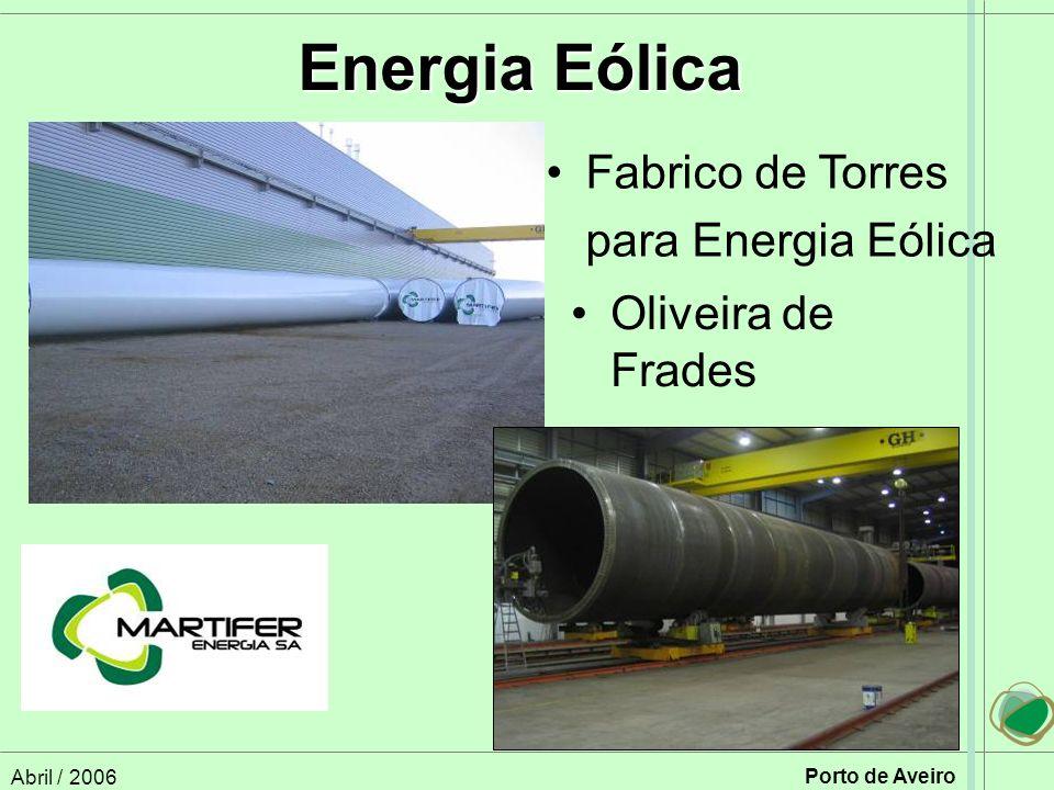 Abril / 2006 Porto de Aveiro Oliveira de Frades Energia Eólica Fabrico de Torres para Energia Eólica