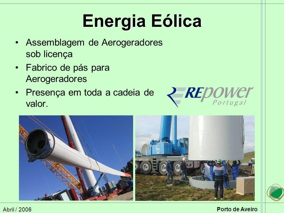 Abril / 2006 Porto de Aveiro Energia Eólica Assemblagem de Aerogeradores sob licença Fabrico de pás para Aerogeradores Presença em toda a cadeia de valor.