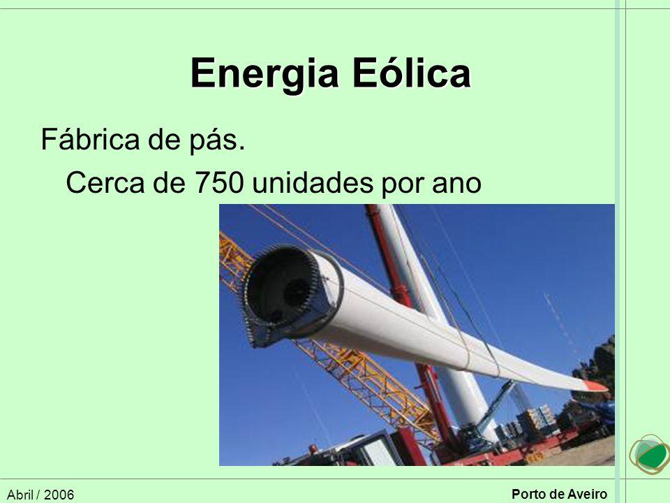 Abril / 2006 Porto de Aveiro Fábrica de pás. Cerca de 750 unidades por ano Energia Eólica