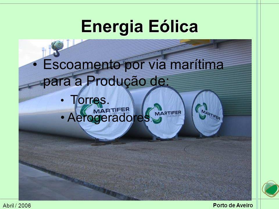 Abril / 2006 Porto de Aveiro Energia Eólica Escoamento por via marítima para a Produção de: Torres.