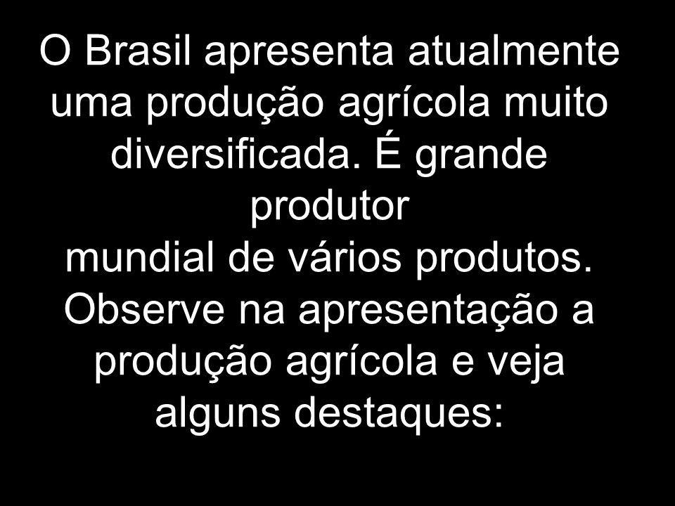 O Brasil apresenta atualmente uma produção agrícola muito diversificada.