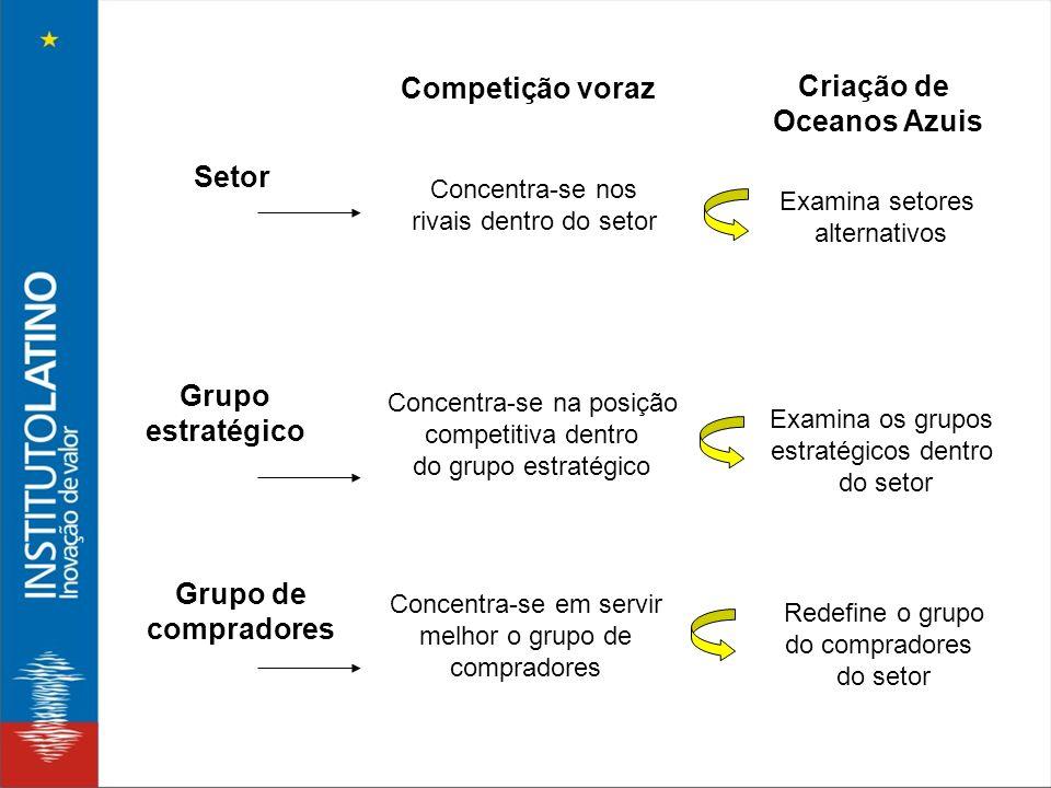 Setor Grupo estratégico Grupo de compradores Concentra-se nos rivais dentro do setor Concentra-se na posição competitiva dentro do grupo estratégico C