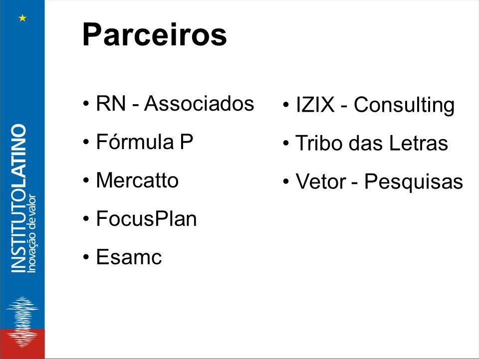 Parceiros RN - Associados Fórmula P Mercatto FocusPlan Esamc IZIX - Consulting Tribo das Letras Vetor - Pesquisas