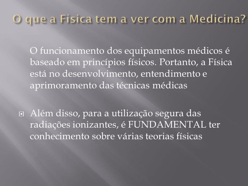 O funcionamento dos equipamentos médicos é baseado em princípios físicos. Portanto, a Física está no desenvolvimento, entendimento e aprimoramento das