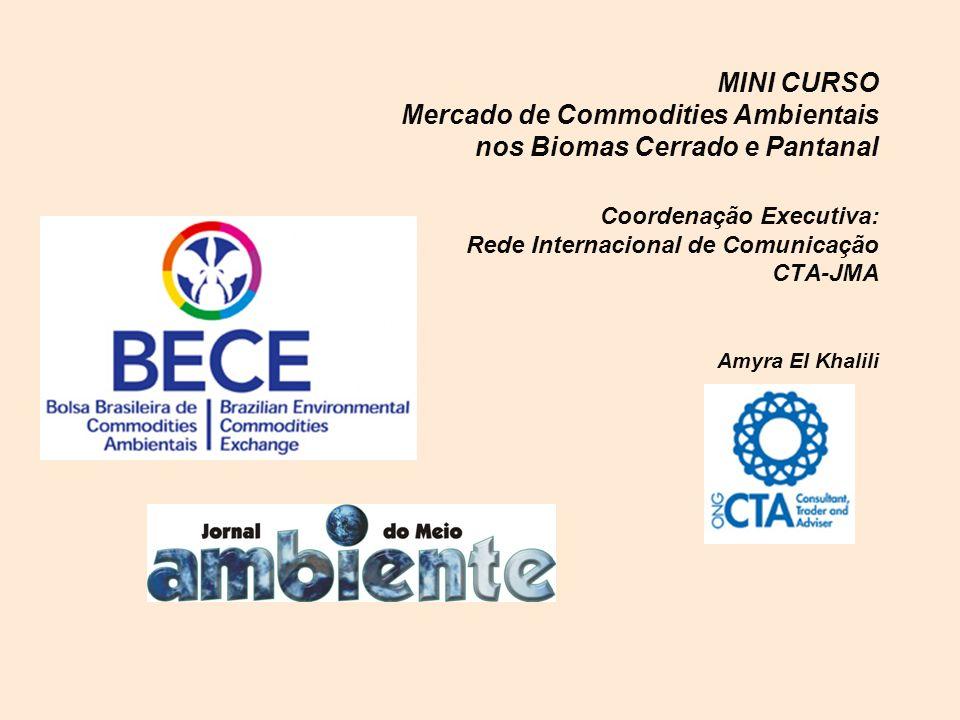MINI CURSO Mercado de Commodities Ambientais nos Biomas Cerrado e Pantanal Coordenação Executiva: Rede Internacional de Comunicação CTA-JMA Amyra El K