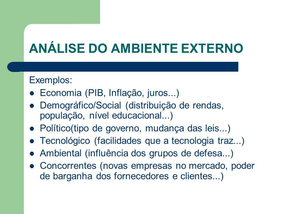 ANÁLISE DO AMBIENTE EXTERNO Exemplos: Economia (PIB, Inflação, juros...) Demográfico/Social (distribuição de rendas, população, nível educacional...)