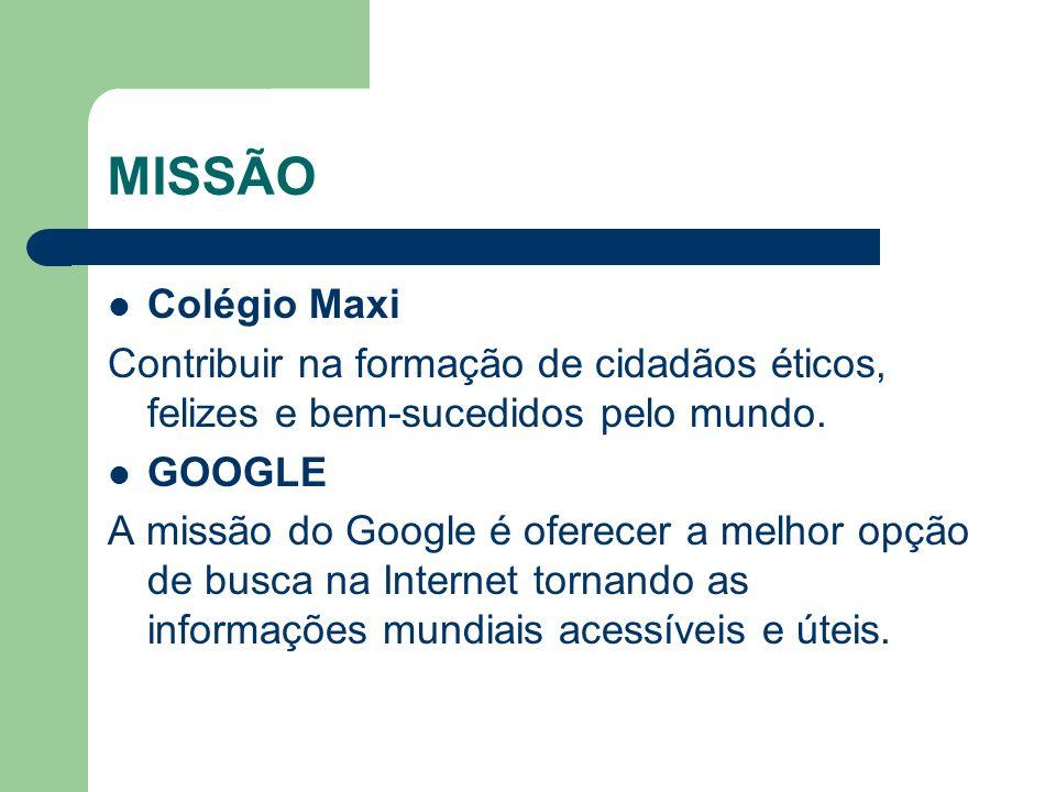 MISSÃO Colégio Maxi Contribuir na formação de cidadãos éticos, felizes e bem-sucedidos pelo mundo. GOOGLE A missão do Google é oferecer a melhor opção