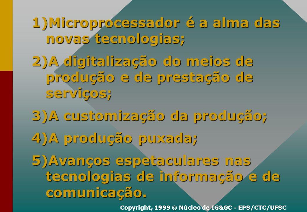 1)Microprocessador é a alma das novas tecnologias; 2)A digitalização do meios de produção e de prestação de serviços; 3)A customização da produção; 4)A produção puxada; 5)Avanços espetaculares nas tecnologias de informação e de comunicação.