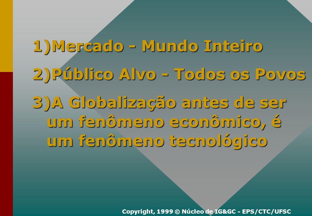 1)Mercado - Mundo Inteiro 2)Público Alvo - Todos os Povos 3)A Globalização antes de ser um fenômeno econômico, é um fenômeno tecnológico Copyright, 1999 © Núcleo de IG&GC - EPS/CTC/UFSC