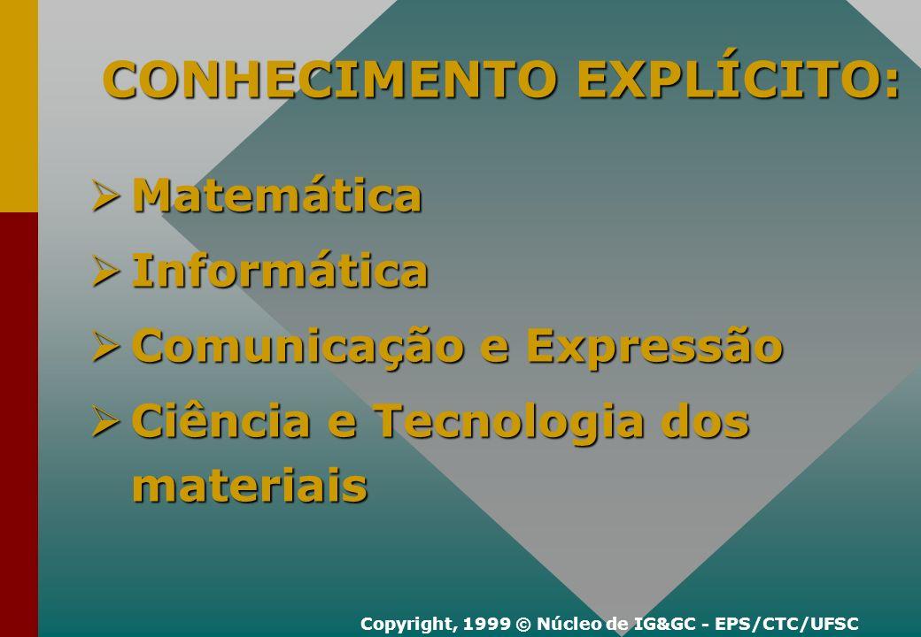 Mundo Real Abstração MODELO VALIDAÇÃO CONHECIMENTO TÁCITO: Copyright, 1999 © Núcleo de IG&GC - EPS/CTC/UFSC Modelos - Físicos e Simbólicos Modelos - Físicos e Simbólicos Habilidades profissionais Habilidades profissionais