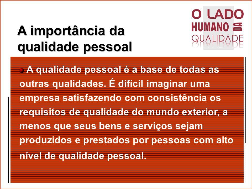 Os Cinco tipos de Qualidade Uma empresa deve trabalhar com os cinco tipos de qualidade: qualidade pessoal qualidade departamental qualidade de produtos qualidade de serviços qualidade de empresa