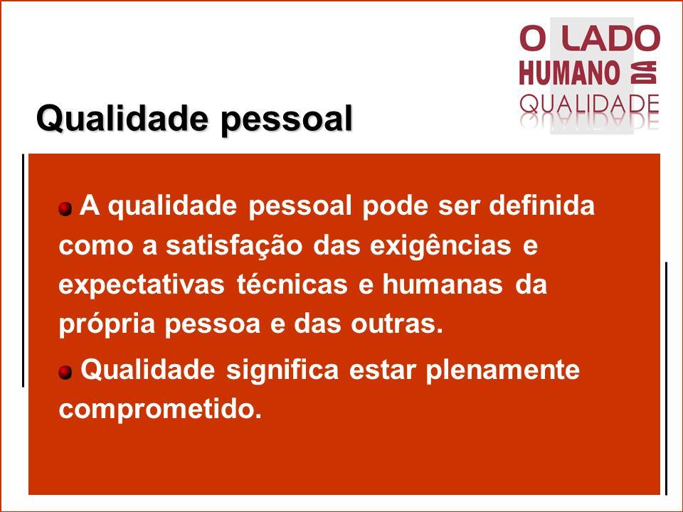 A importância da qualidade pessoal A qualidade pessoal é a base de todas as outras qualidades.