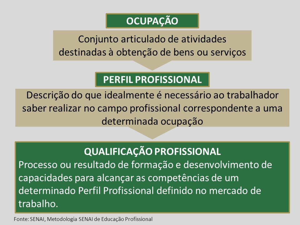 OCUPAÇÃO PERFIL PROFISSIONAL QUALIFICAÇÃO PROFISSIONAL Processo ou resultado de formação e desenvolvimento de capacidades para alcançar as competência