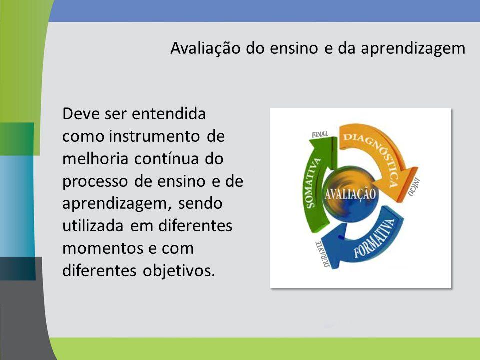Avaliação do ensino e da aprendizagem Deve ser entendida como instrumento de melhoria contínua do processo de ensino e de aprendizagem, sendo utilizad