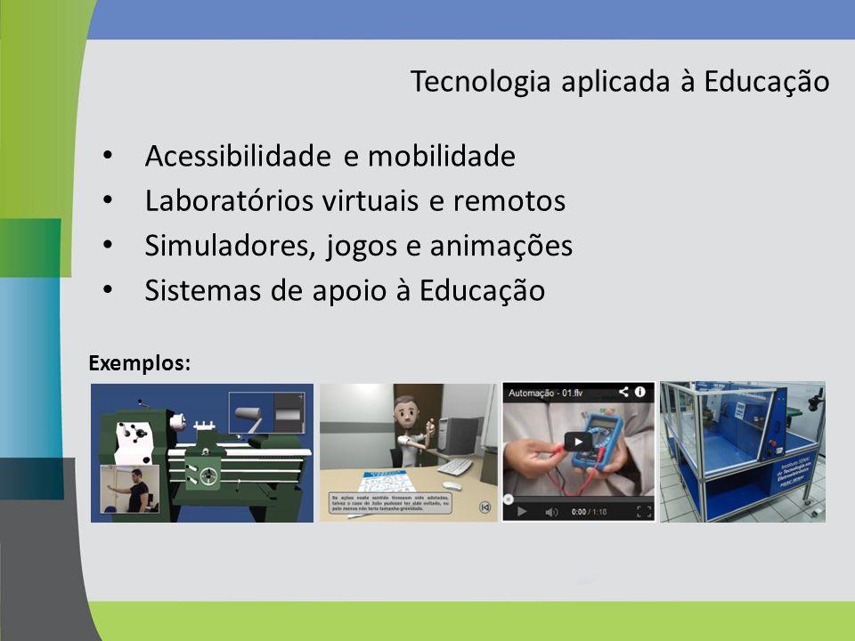Tecnologia aplicada à Educação Acessibilidade e mobilidade Exemplos: Laboratórios virtuais e remotos Simuladores, jogos e animações Sistemas de apoio