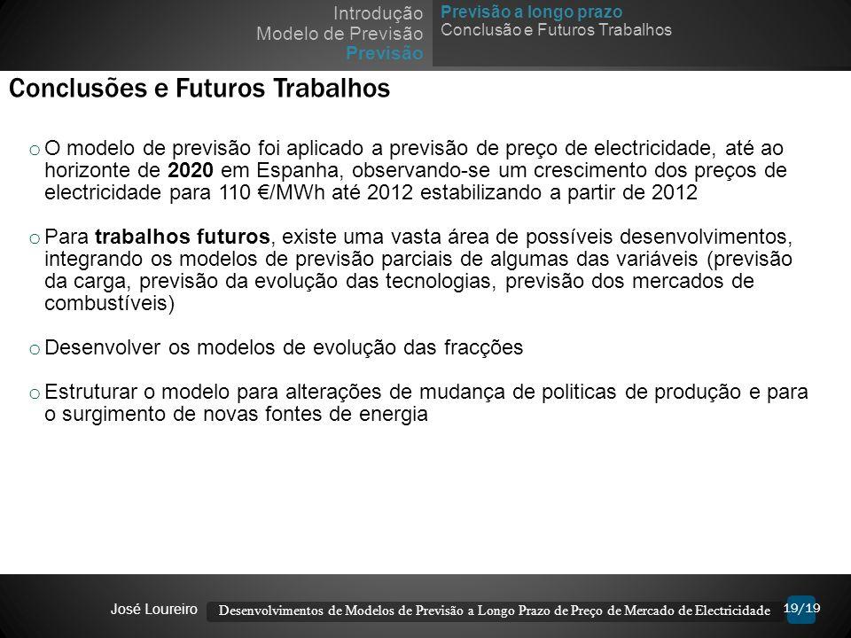 19/19 Conclusões e Futuros Trabalhos o O modelo de previsão foi aplicado a previsão de preço de electricidade, até ao horizonte de 2020 em Espanha, ob