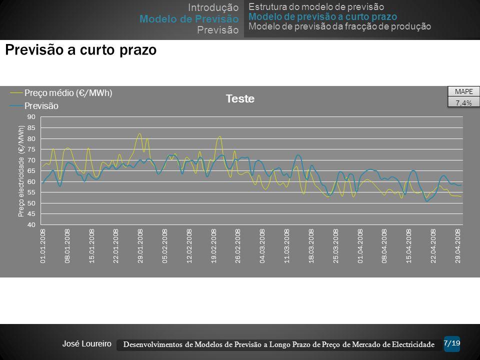 7/19 Previsão a curto prazo Desenvolvimentos de Modelos de Previsão a Longo Prazo de Preço de Mercado de Electricidade José Loureiro Estrutura do mode