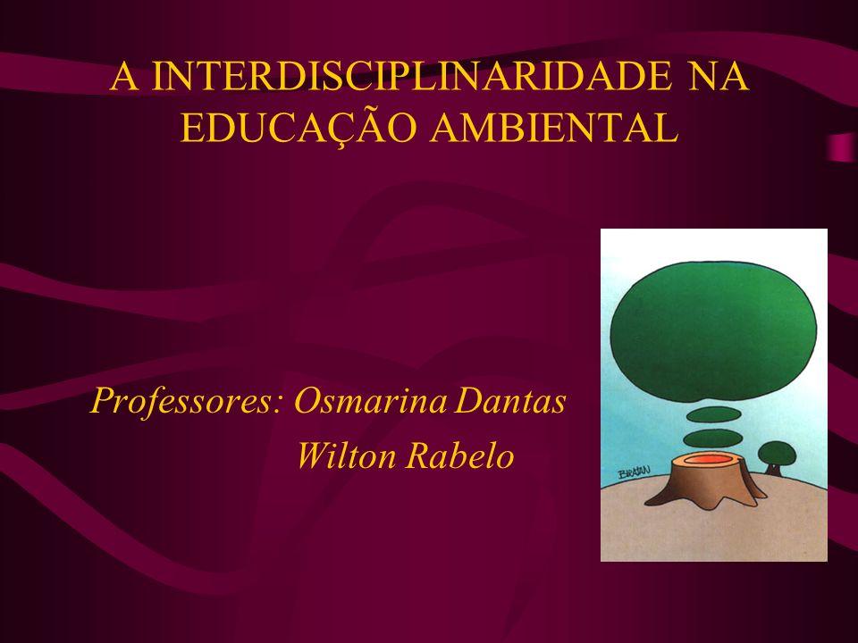 A INTERDISCIPLINARIDADE NA EDUCAÇÃO AMBIENTAL Professores: Osmarina Dantas Wilton Rabelo