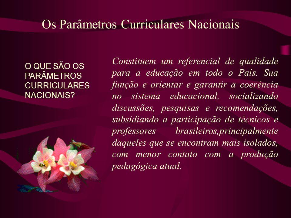 Os Parâmetros Curriculares Nacionais O QUE SÃO OS PARÂMETROS CURRICULARES NACIONAIS? Constituem um referencial de qualidade para a educação em todo o