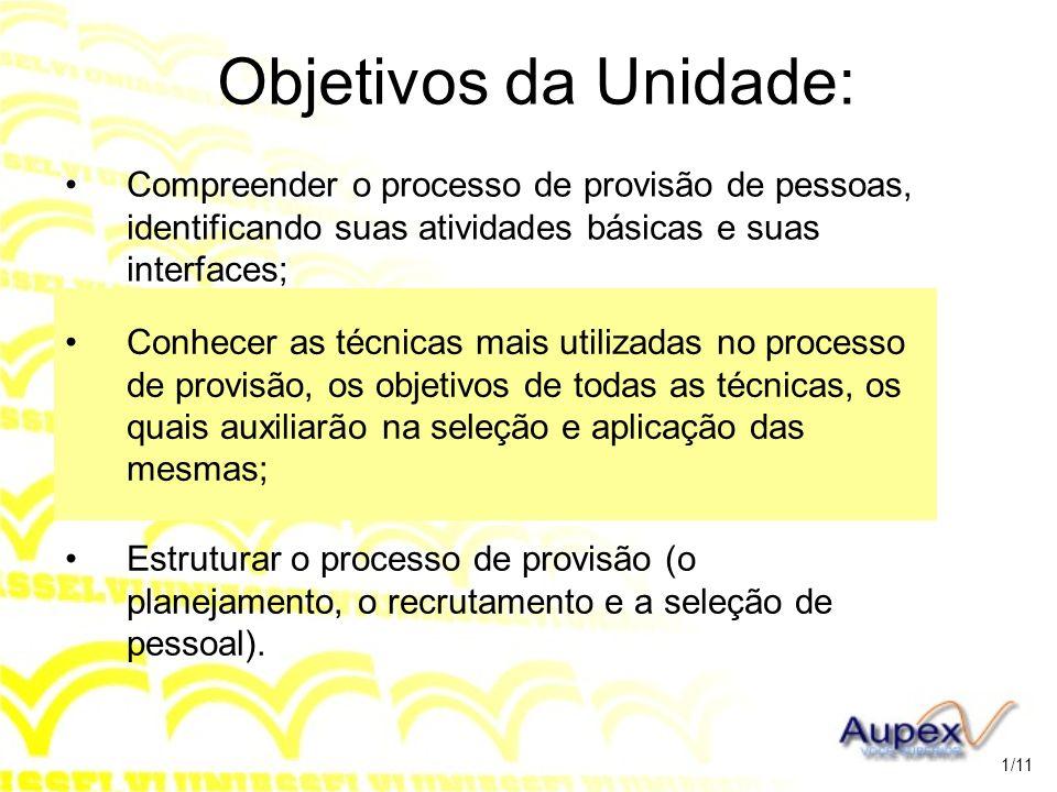 Unidade 3 DETALHAMENTO DO PROCESSO DE PROVISÃO 2/11