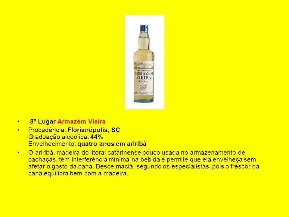 8º Lugar Armazém Vieira Procedência: Florianópolis, SC Graduação alcoólica: 44% Envelhecimento: quatro anos em ariribá O ariribá, madeira do litoral c