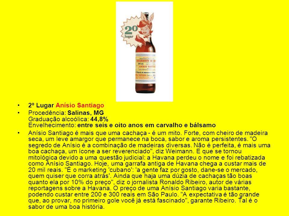 2º Lugar Anísio Santiago Procedência: Salinas, MG Graduação alcoólica: 44,8% Envelhecimento: entre seis e oito anos em carvalho e bálsamo Anísio Santi