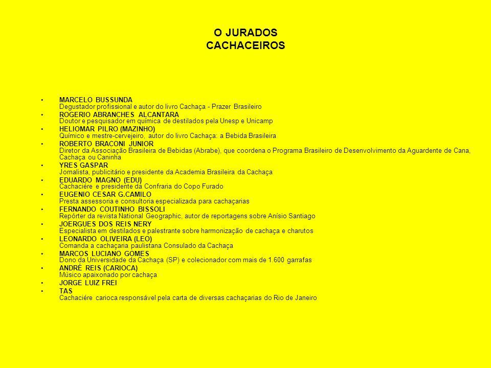 O JURADOS CACHACEIROS MARCELO BUSSUNDA Degustador profissional e autor do livro Cachaça - Prazer Brasileiro ROGERIO ABRANCHES ALCANTARA Doutor e pesqu