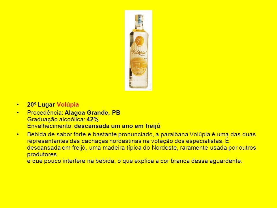 20º Lugar Volúpia Procedência: Alagoa Grande, PB Graduação alcoólica: 42% Envelhecimento: descansada um ano em freijó Bebida de sabor forte e bastante