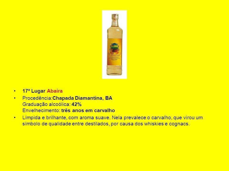 17º Lugar Abaíra Procedência:Chapada Diamantina, BA Graduação alcoólica: 42% Envelhecimento: três anos em carvalho Límpida e brilhante, com aroma suav