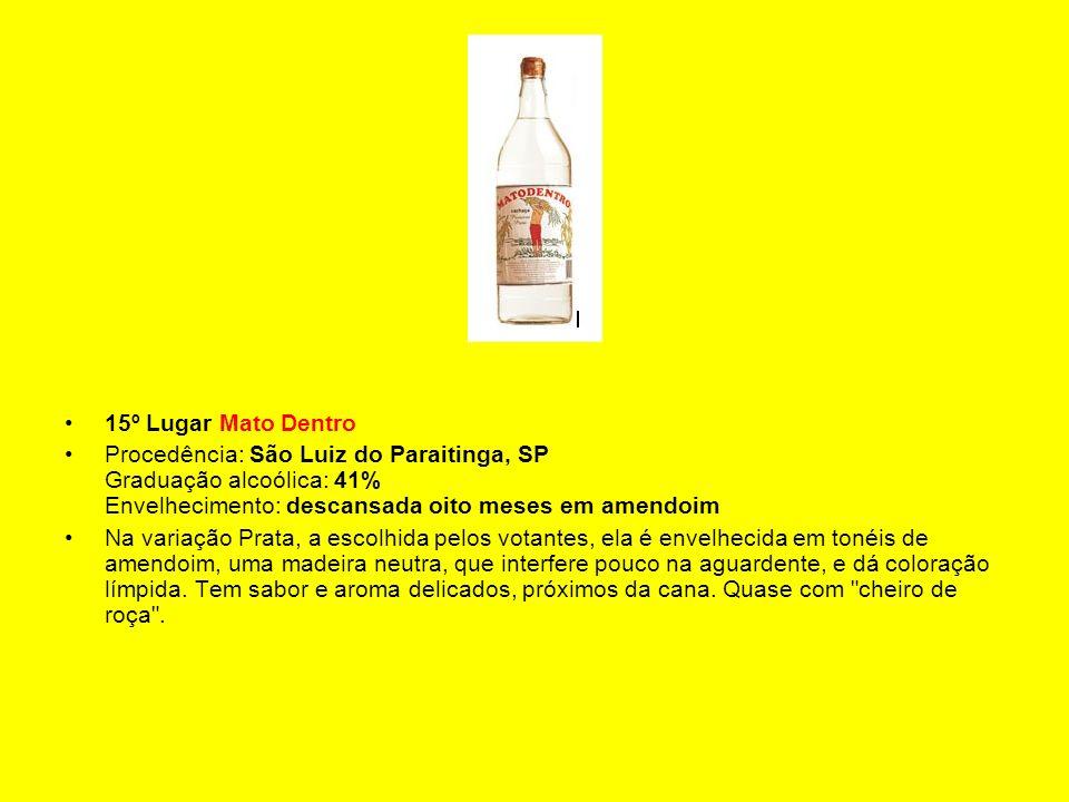 15º Lugar Mato Dentro Procedência: São Luiz do Paraitinga, SP Graduação alcoólica: 41% Envelhecimento: descansada oito meses em amendoim Na variação P