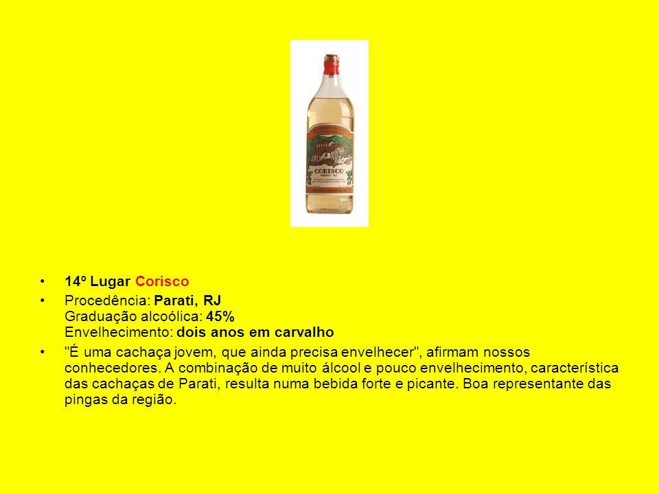 14º Lugar Corisco Procedência: Parati, RJ Graduação alcoólica: 45% Envelhecimento: dois anos em carvalho