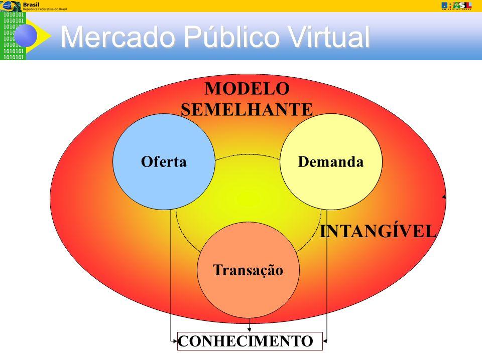 1010101 Mercado Público Virtual Cultura Organizaciona l Demanda Transação Oferta MODELO SEMELHANTE INTANGÍVEL CONHECIMENTO