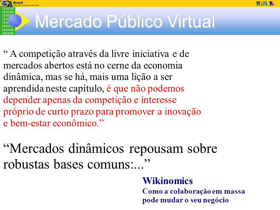 1010101 Mercado Público Virtual A competição através da livre iniciativa e de mercados abertos está no cerne da economia dinâmica, mas se há, mais uma