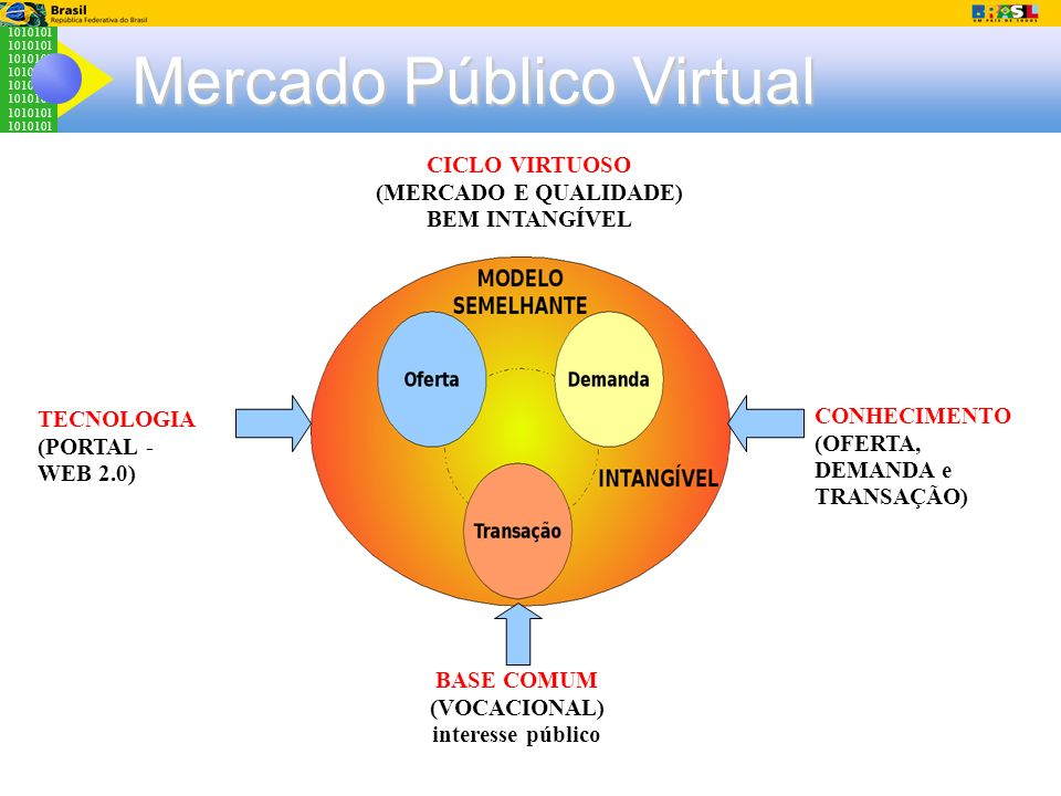 1010101 Mercado Público Virtual TECNOLOGIA (PORTAL - WEB 2.0) CONHECIMENTO (OFERTA, DEMANDA e TRANSAÇÃO) BASE COMUM (VOCACIONAL) interesse público CIC