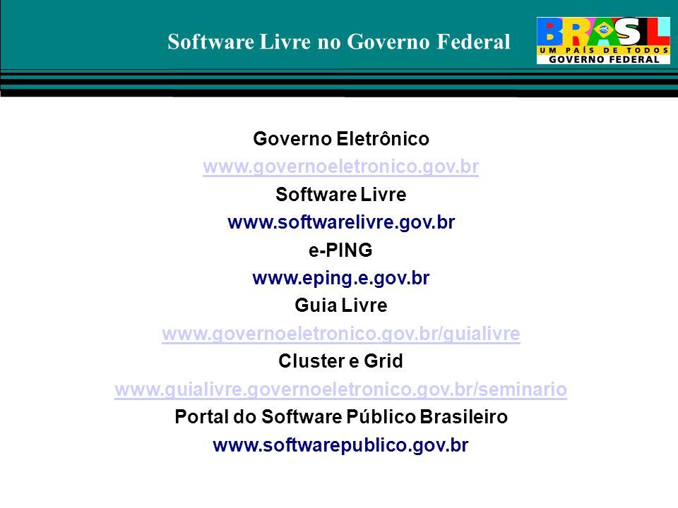 Software Livre no Governo Federal Governo Eletrônico www.governoeletronico.gov.br Software Livre www.softwarelivre.gov.br e-PING www.eping.e.gov.br Gu