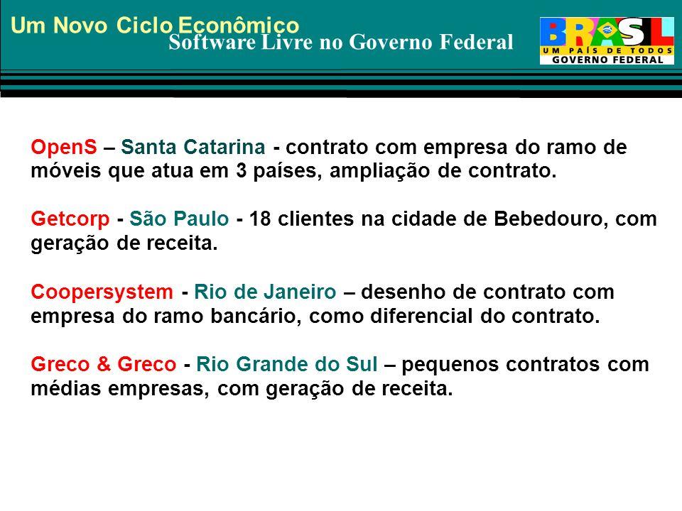 Software Livre no Governo Federal Um Novo Ciclo Econômico OpenS – Santa Catarina - contrato com empresa do ramo de móveis que atua em 3 países, amplia