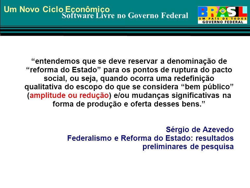 Software Livre no Governo Federal entendemos que se deve reservar a denominação de reforma do Estado para os pontos de ruptura do pacto social, ou sej