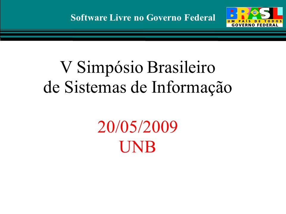 Software Livre no Governo Federal V Simpósio Brasileiro de Sistemas de Informação 20/05/2009 UNB