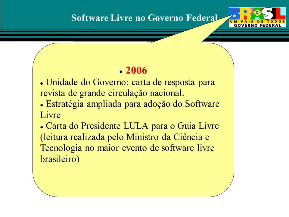 Software Livre no Governo Federal 2006 Unidade do Governo: carta de resposta para revista de grande circulação nacional. Estratégia ampliada para adoç
