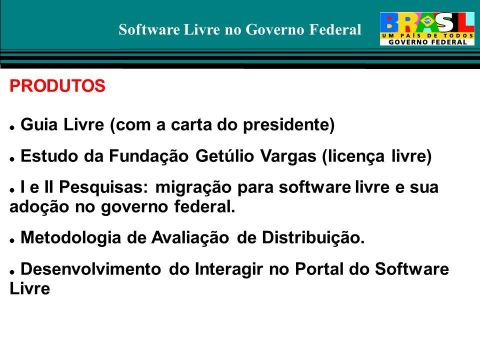 Software Livre no Governo Federal PRODUTOS Guia Livre (com a carta do presidente) Estudo da Fundação Getúlio Vargas (licença livre) I e II Pesquisas: