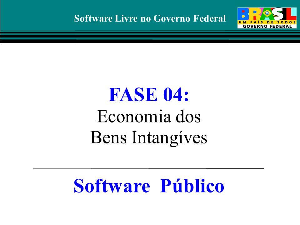 Software Livre no Governo Federal FASE 04: Economia dos Bens Intangíves Software Público