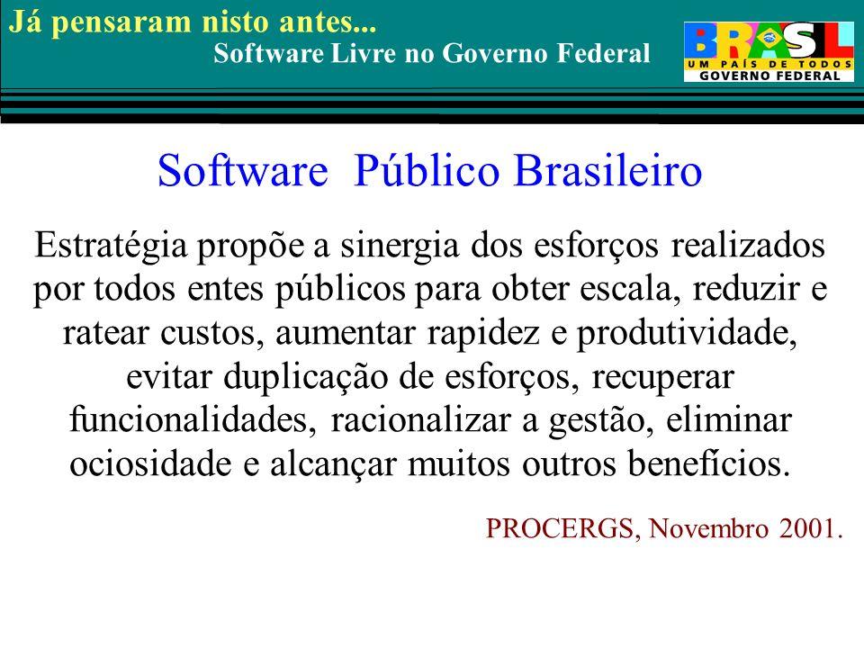 Software Livre no Governo Federal Software Público Brasileiro Estratégia propõe a sinergia dos esforços realizados por todos entes públicos para obter