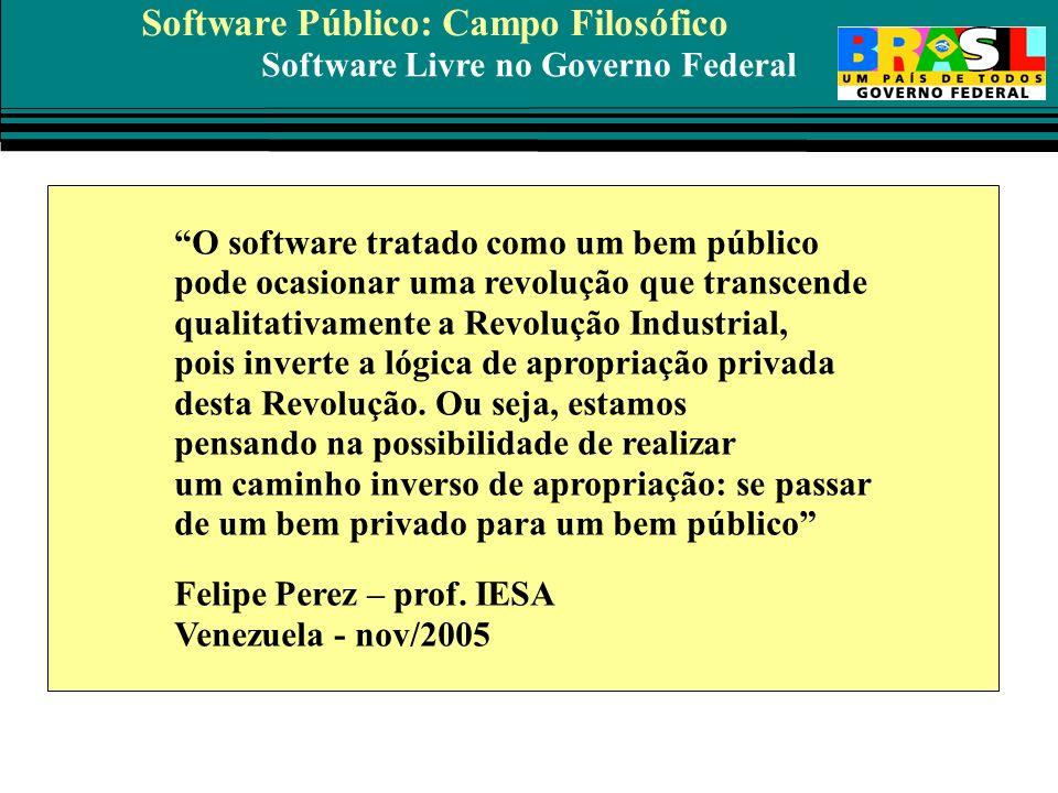 Software Livre no Governo Federal Software Público: Campo Filosófico O software tratado como um bem público pode ocasionar uma revolução que transcend