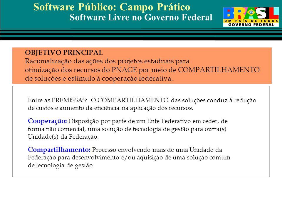 Software Livre no Governo Federal OBJETIVO PRINCIPAL Racionalização das ações dos projetos estaduais para otimização dos recursos do PNAGE por meio de