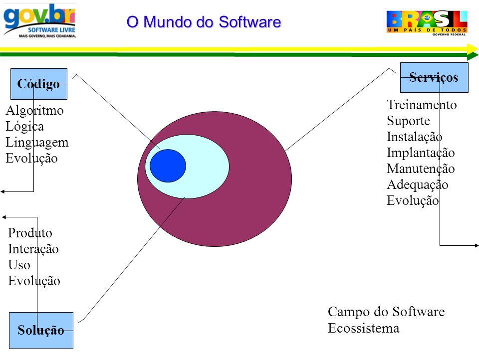 Serviços O Mundo do Software Campo do Software Ecossistema Saúde Ciência Treinamento Suporte Instalação Implantação Manutenção Adequação Evolução Solu
