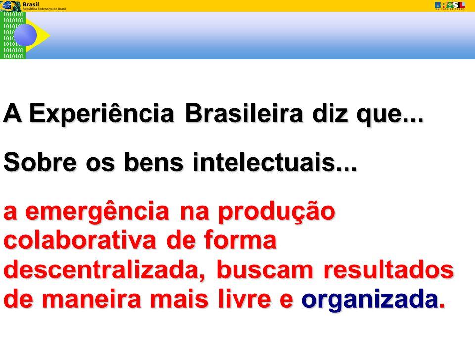 1010101 A Experiência Brasileira diz que... Sobre os bens intelectuais... a emergência na produção colaborativa de forma descentralizada, buscam resul