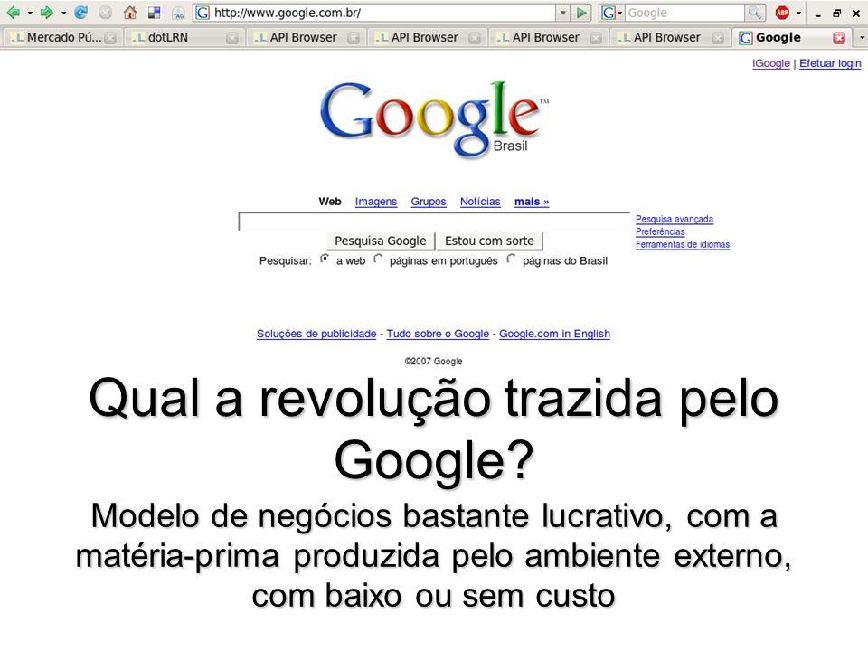 1010101 Qual a revolução trazida pelo Google? Modelo de negócios bastante lucrativo, com a matéria-prima produzida pelo ambiente externo, com baixo ou